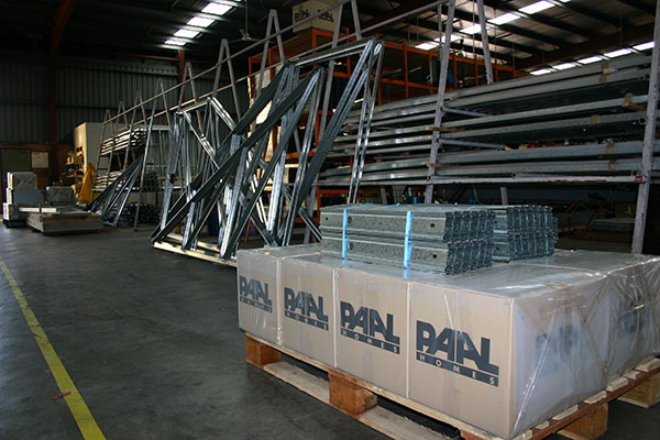 Modular steel frames at Paal Kit Homes factory and warehouse