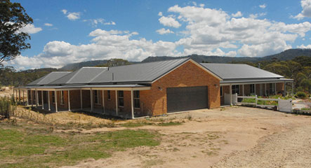 Newly built Paal kit home design based on Castlereagh built by owner builders in Hartley, NSW