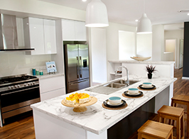Contemporary kit home kitchen with modern appliances