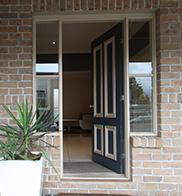 Custom door with windows selected by customer