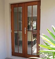 Double wooden back door to kit home