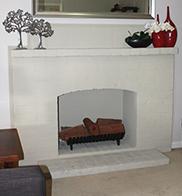 Custom fireplace in kit home living room