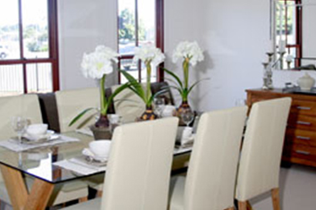 Kit Homes Victoria - The Hawkesbury kit home dining room on display in Bayswater Nth Melbourne