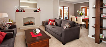 Kit Homes NSW - Lounge room interior of Country Kit Home on display at Emu Plains, Sydney.