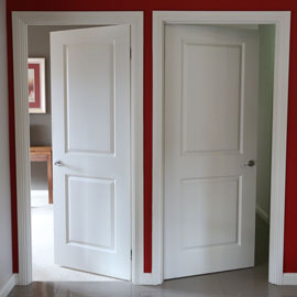 Kit Home internal doors: Pre-hung door system with  hinges already fitted to doors.