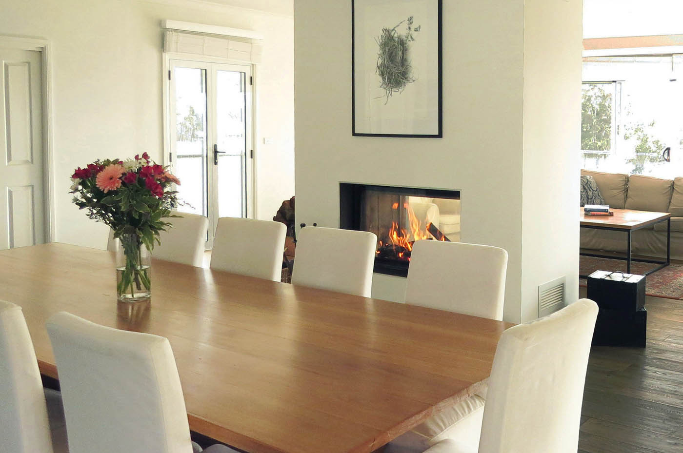 Dining room with double sided fireplace