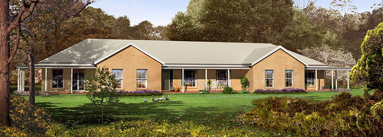 The Derwent Facade - Paal Kit Homes offer easy to build steel frame kit homes for the owner builder and have display / sale centres in Sydney NSW, Melbourne VIC, Brisbane QLD, Townsville NTH QLD, Perth WA.