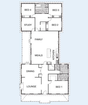Index Range on Narrow 3 Bedroom Townhouse Plan