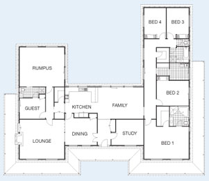 The Castlereagh floorplan - 5BR 314 sqm Living Area, Under Roof Area: 428m² (46sq) O/A Frontage: 27.5m (90') O/A Ceiling Height: 2.7m (9') Roof Pitch: 30° - Paal Steel Frame Kit Homes NSW, Victoria, SE QLD & Nth QLD