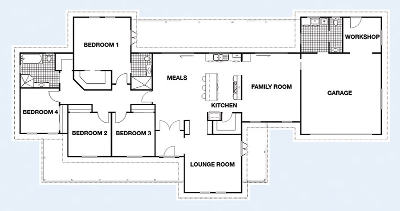 The Murray floorplan - 4BR 330 sqm O/A Under Roof Area, Frontage: 28.01m, Ceiling Height: 2.7m (9') Roof Pitch: 30° - Paal Steel Frame Kit Homes NSW, Victoria, SE QLD & Nth QLD