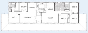 The Riverina floorplan - 4BR+Study 220 sqm Living Area, Under Roof Area: 358m² (38sq). O/A Frontage: 33.4m (112'4'') O/A Ceiling Height: 2.7m (9') Roof Pitch: 25° - Paal Steel Frame Kit Homes NSW, Victoria, SE QLD & Nth QLD