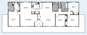 The Tasman floorplan - 4BR 164 sqm Living Area, Under Roof Area: 241m² (26sq) O/A Frontage: 25.4m (84') O/A Ceiling Height: 2.55m (8'6'') Roof Pitch: 22.5° - Paal Steel Frame Kit Homes NSW, Victoria, SE QLD & Nth QLD