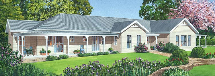 The Richmond Facade - Paal Kit Homes offer easy to build steel frame kit homes for the owner builder and have display / sale centres in Sydney NSW, Melbourne VIC, Brisbane QLD, Townsville NTH QLD, Perth WA.