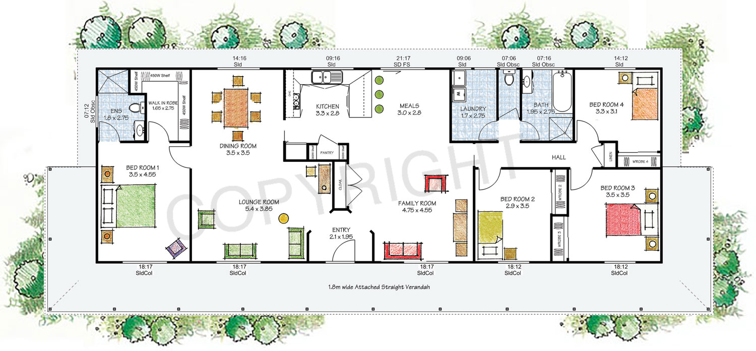 The Tasman floor plan - Download a PDF here - Paal Kit Homes offer easy to build steel frame kit homes for the owner builder and have display / sale centres in Sydney NSW, Melbourne VIC, Brisbane QLD, Townsville NTH QLD, Perth WA.