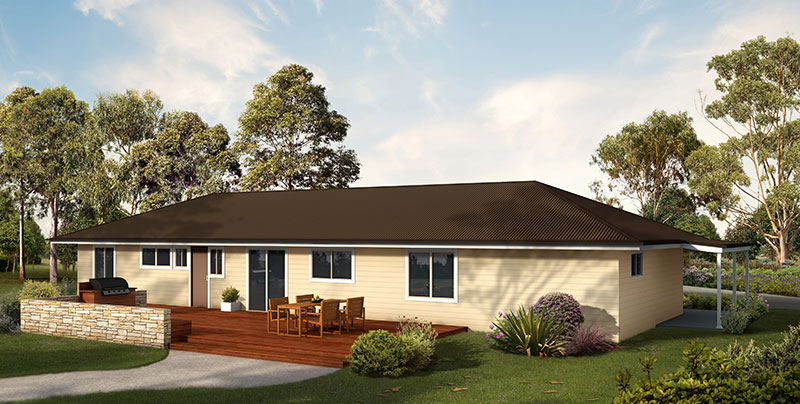 The Tasman rear view with decking and al fresco area - Paal Kit Homes have sale centres in Sydney NSW, Melbourne VIC, and Brisbane QLD.