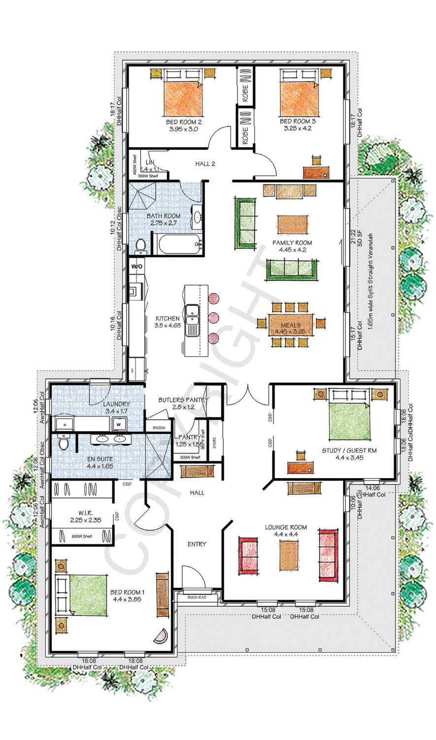 Windsor floor plan - Download a PDF here - Paal Kit Homes offer easy to build steel frame kit homes for the owner builder and have display / sale centres in Sydney NSW, Melbourne VIC, Brisbane QLD, Townsville NTH QLD, Perth WA.