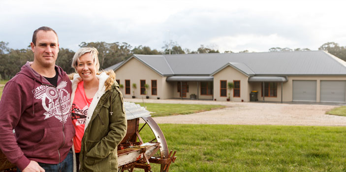 The couple owner builders found a 55 acre block in Peechelba, near Wangaratta, Victoria and moved up there to build their house, a steel frame kit home, and farm the land.